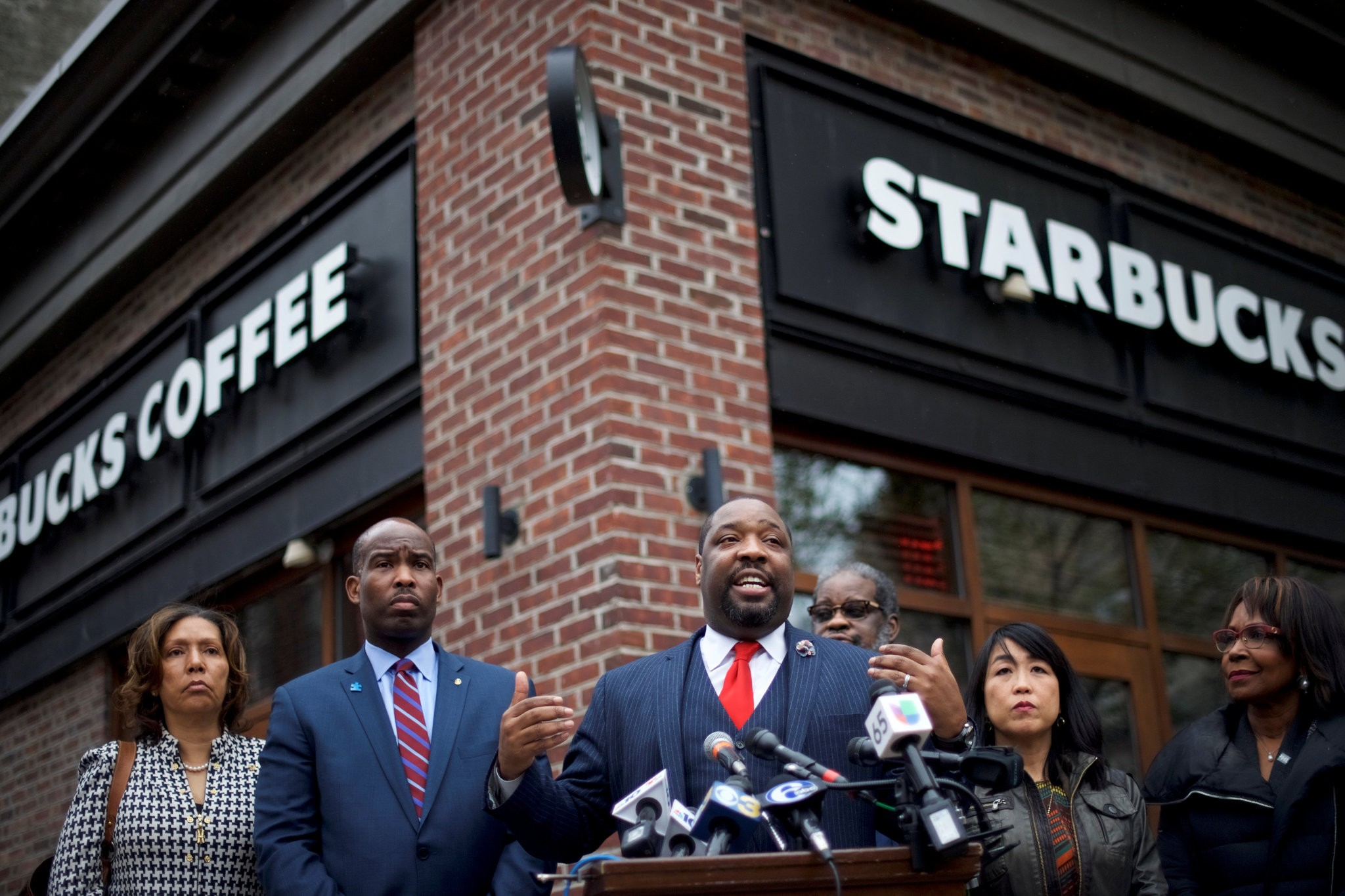 Kenyatta Johnson, A Philadelphia City Councilman, Outside The Starbucks Store In The City Where Two Black Men Were Arrested Last Week. (Photo By Mark Makela/Reuters)
